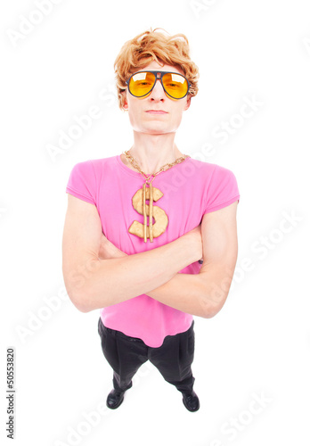 Funny rich macho guy with gold chain