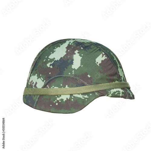 camouflage helmet isolated on white background