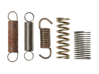 Steel spring collection isolated on white background