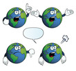 Collection of angry Earth globes with various gestures.