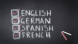 English, German, Spanish, French Chalk Drawing