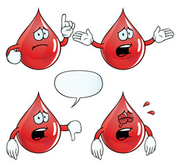 Collection of crying blood drops with various gestures.