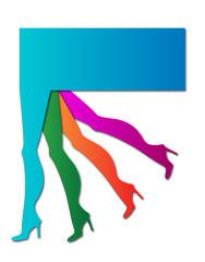 logo o etichetta colorata con gambe femminili