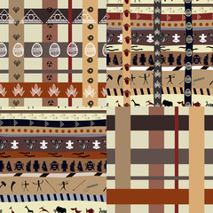 Set of African Tribal patterns with elements of nature