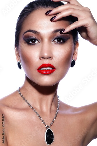 sexy brunette model with bright makeup,with red lips