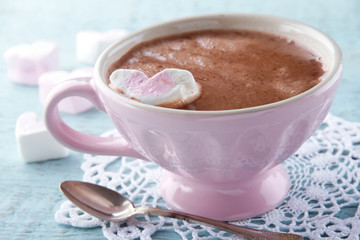 Hot chocolate in an elegant pink cup