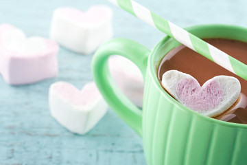 Hot chocolate and a heart shaped marsmallow