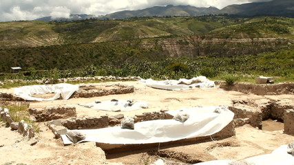 Archaeological excavations in Wari ruins, Peru
