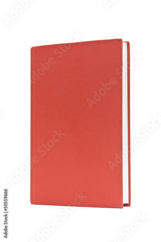 old, red book isolated on white background