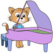 Cartoon Cat Playing a Piano