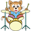 Cartoon Cat Playing Drums