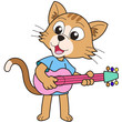 Cartoon Cat Playing a Guitar