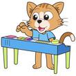 Cartoon Cat Playing an Electronic Organ