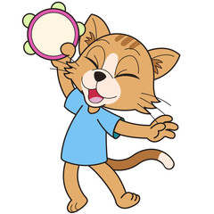Cartoon Cat Playing a Tambourine