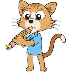 Cartoon Cat Playing an Oboe