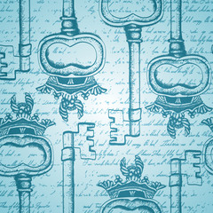 Seamless vintage pattern with antique hand-drawn keys