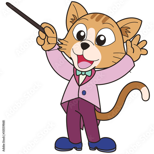 Cartoon Cat Music Conductor