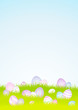 20 Pastel Easter Eggs Meadow Background Sky DIN A4