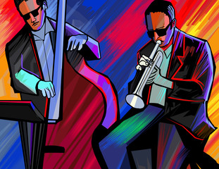 jazz band with trumpet and double bass