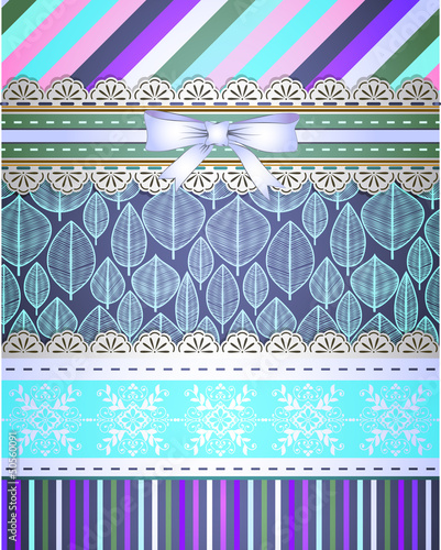 Set of patterns and borders for scrapbooking
