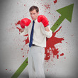Businessman in boxing gloves against profit arrow and blood spat
