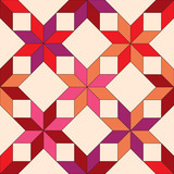Quilted fabric seamless pattern in shades of red, vector