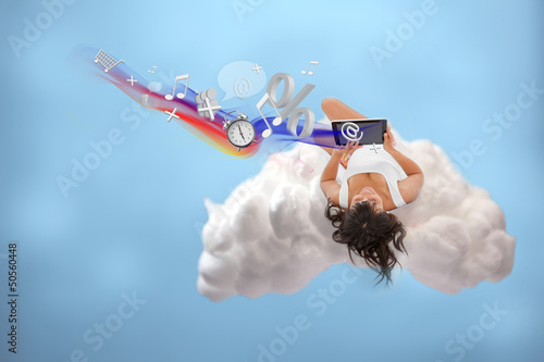Relaxed girl connected to cloud computing
