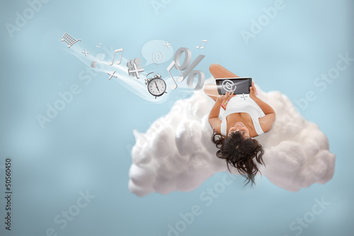 Brunette girl connecting to cloud computing
