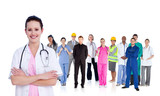 Doctor standing in front of different types of workers