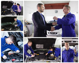 Collage of mechanics at work with happy customer