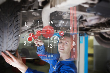 Mechanic under car consulting interface