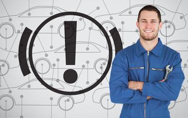 Mechanic standing next to parking break signal