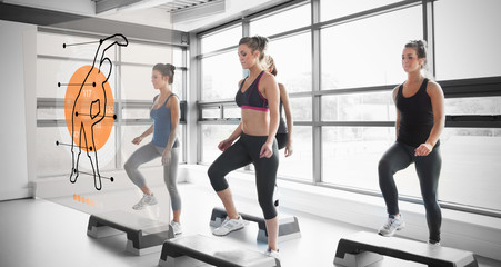 Women doing exercise with futuristic interface demonstration