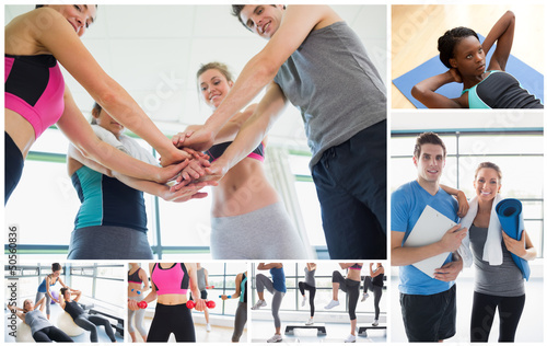 Collage of people at the gym