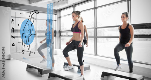 Women workout with blue interface showing them how to do