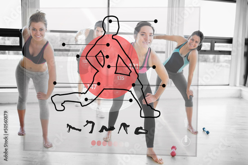 Women doing exercise with futuristic red interface demonstration