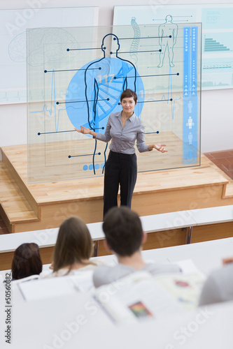 Standing teacher in front of futuristic interface asking a quest