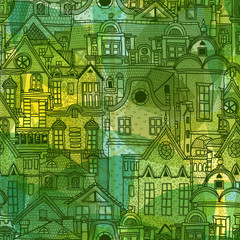 Spring abstract background with old town