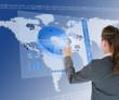 Businesswoman using blue pie chart interface