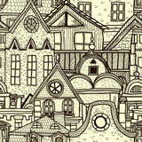 Hand-drawn seamless pattern with old town - 50561221