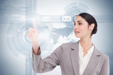 Businesswoman using futuristic interface