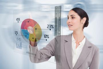 Businesswoman using colorful futuristic interface