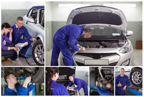 Collage of mechanics at work