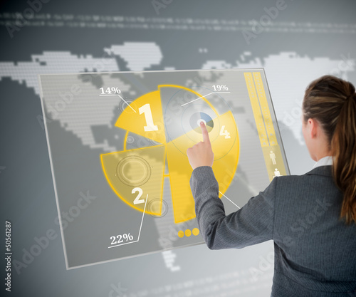 Well dressed business woman using yellow pie chart futuristic in
