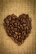 Heart made from roasted coffee beans