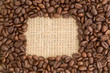 Coffee beans with rectangular indent for copy space