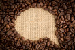 Coffee beans with speech bubble indent for copy space