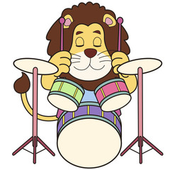 Cartoon Lion Playing Drums