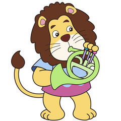 Cartoon Lion Playing a French Horn