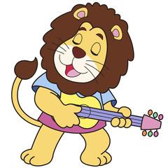 Cartoon Lion Playing a Guitar